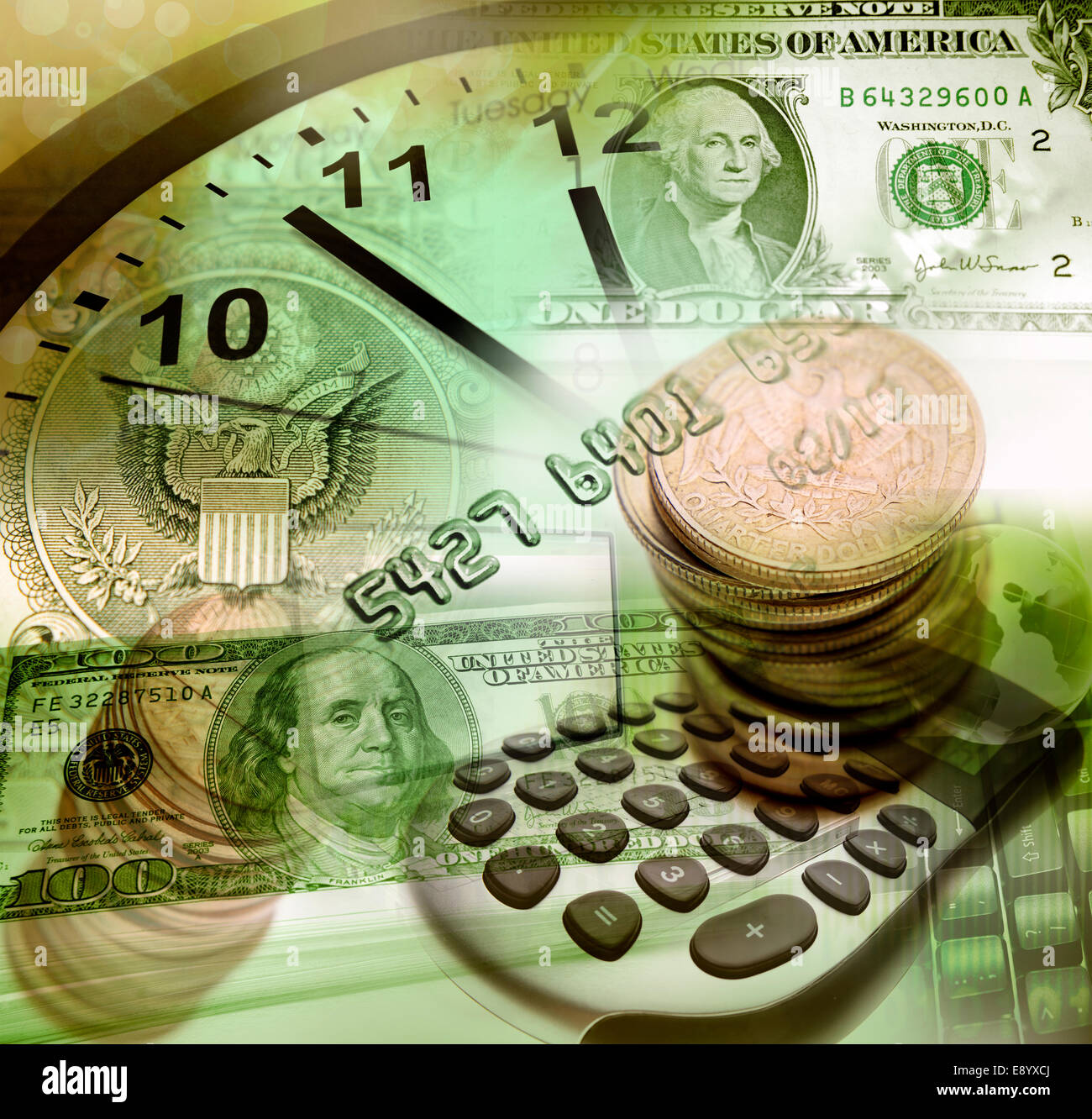 American currency, clock and calculator - Stock Image