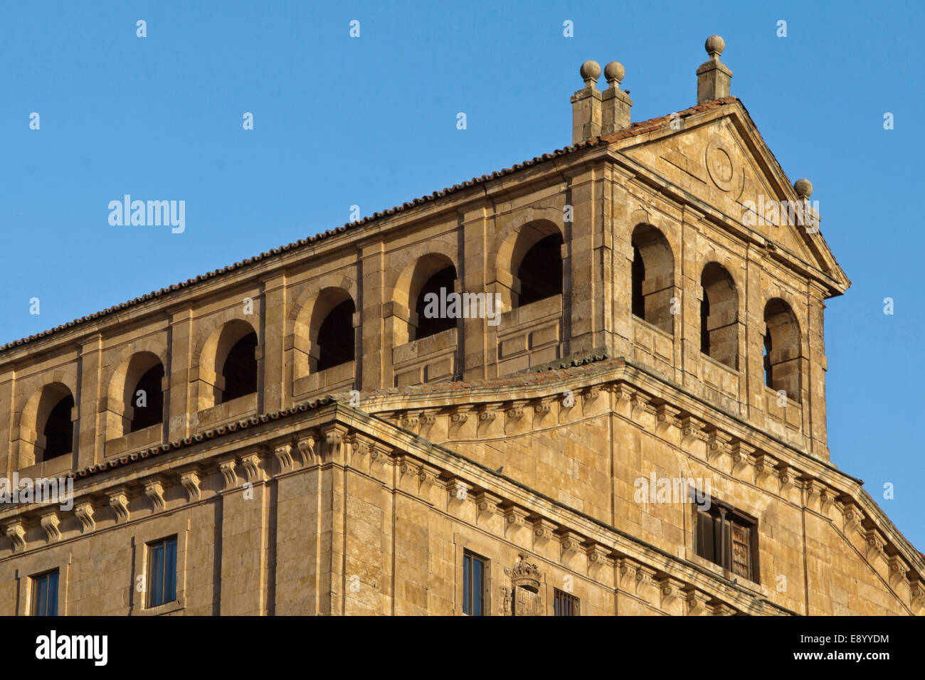 La Cleraçia, Salamanca, Castilla y León, Spain: View on the Long Gallery, a  three-floored Baroque cloister. - Stock Image