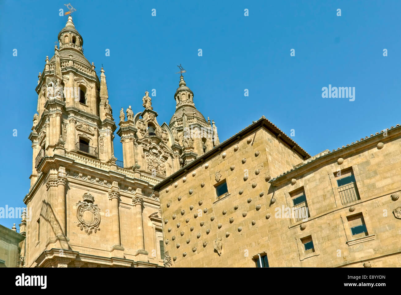 Detailed view of the façade of Casa de las Conchas & La Cleraçia, Salamanca, Castilla y León, - Stock Image