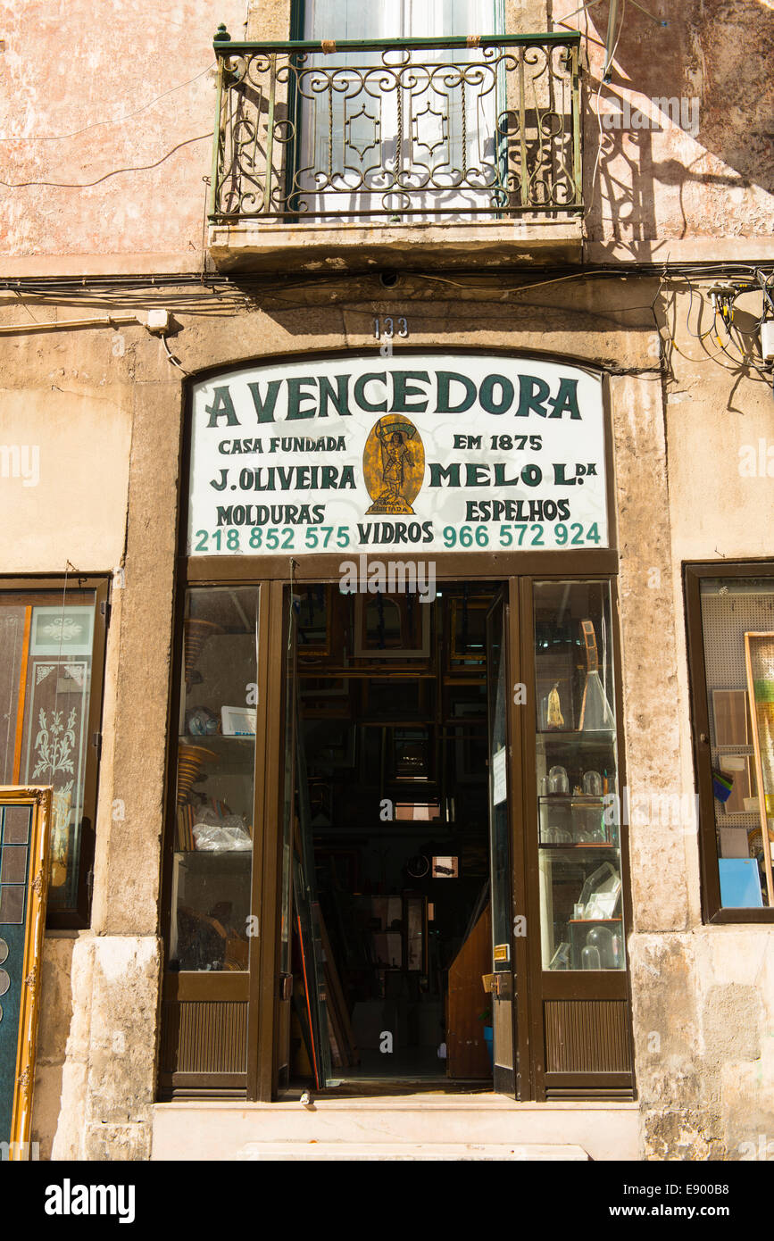 Portugal Lisbon Alfama Antiques Collectables Shop Store A Vencedora Founded 1875 J Oliveira Melo Mirrors Embroidery Glass