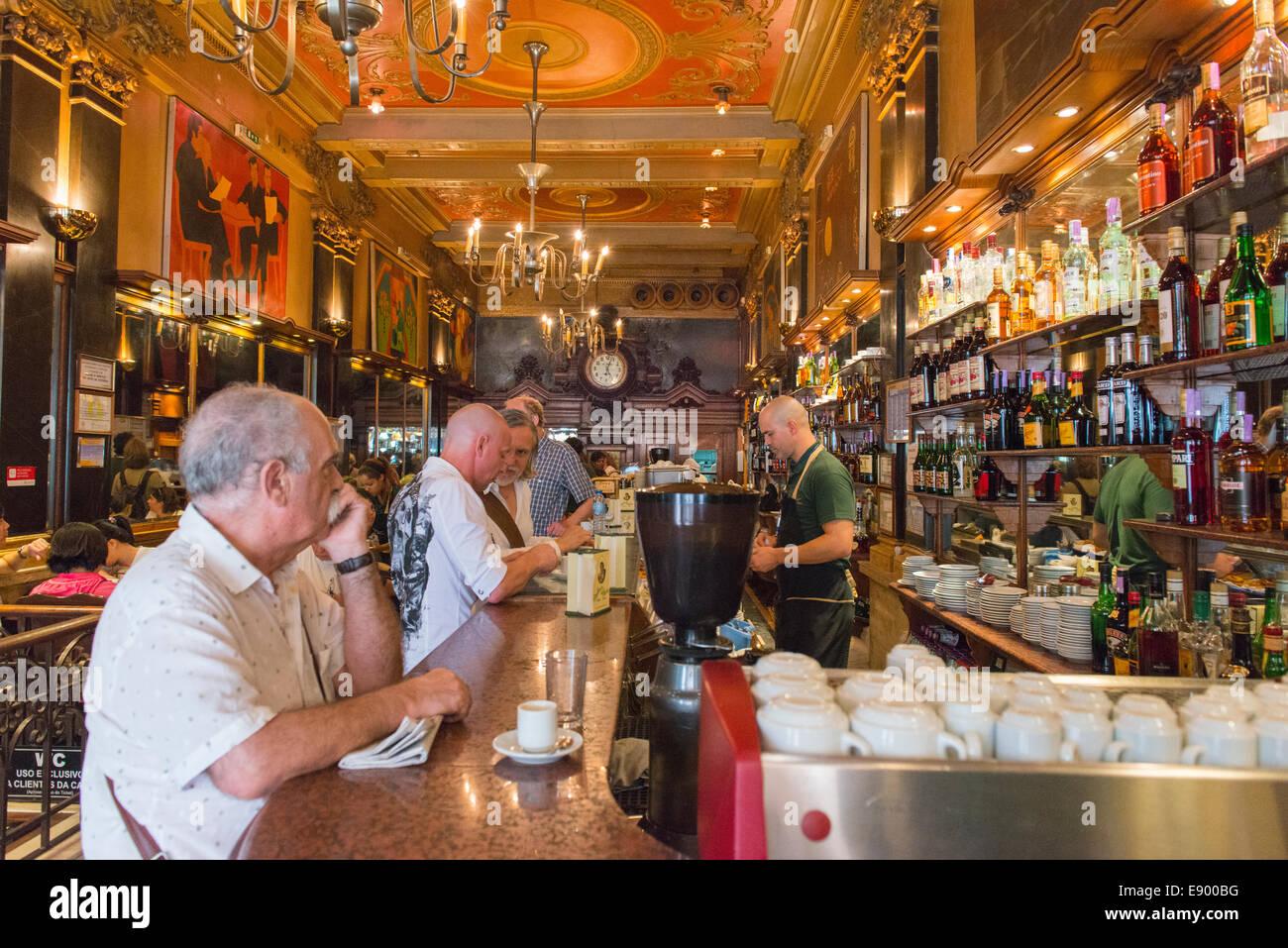 Portugal Lisbon Baixa Chiado Rua Garrett Art Nouveau deco bar restaurant brasserie  1920's Cafe Brasileira ornate Stock Photo