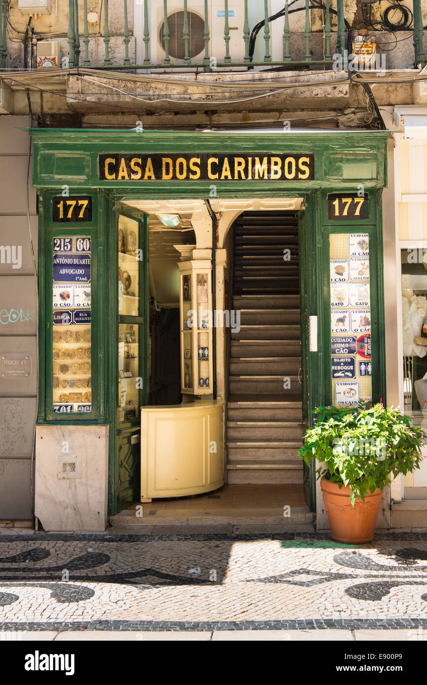 Portugal Lisbon Casa dos Carimbos shop store sign signs house names numbers WC's medallions office name plates sporting Stock Photo