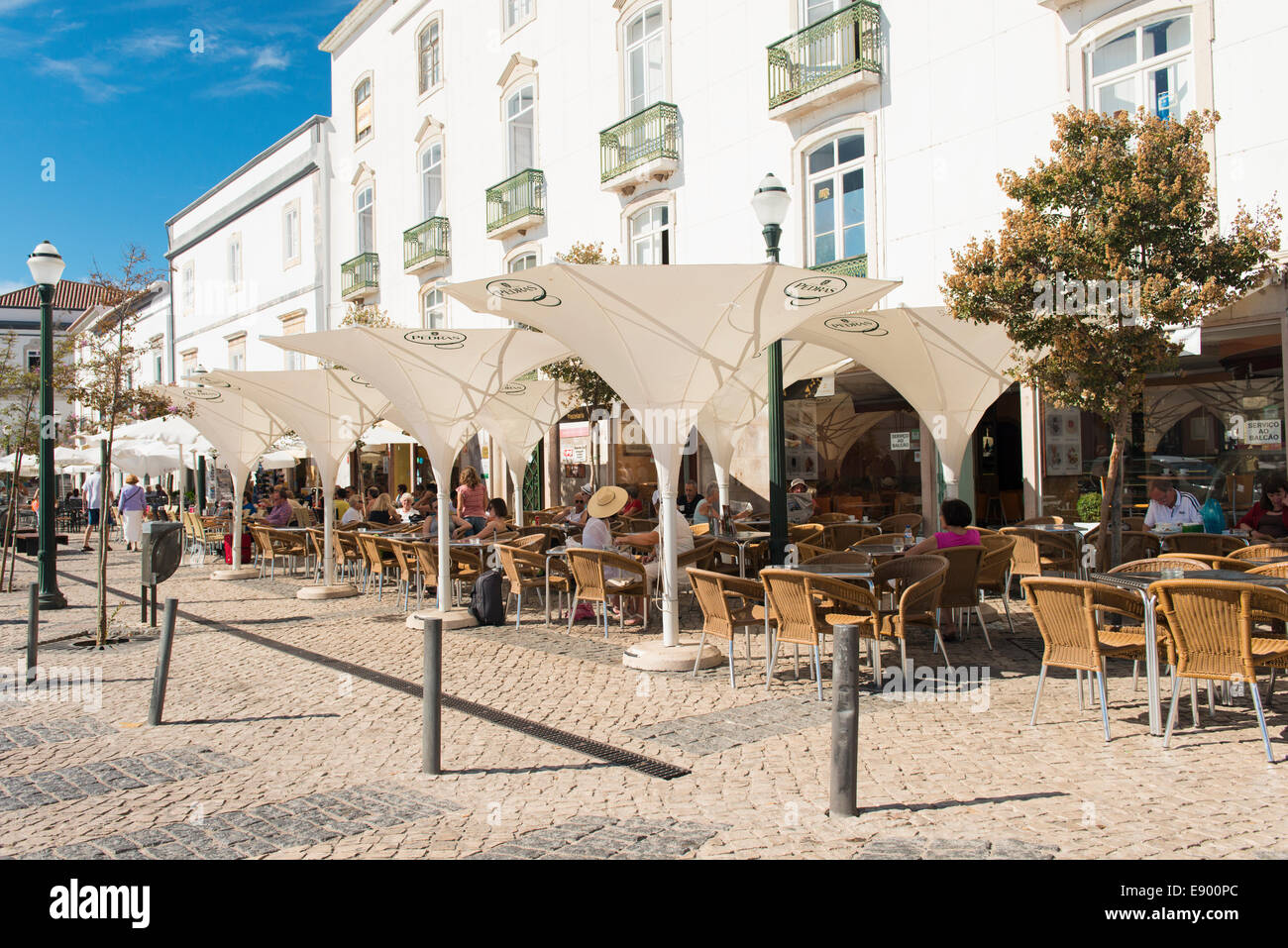 Portugal Algarve Tavira late Bronze Age port rebuilt 18th c century city town centre center pavement cafe restaurant - Stock Image