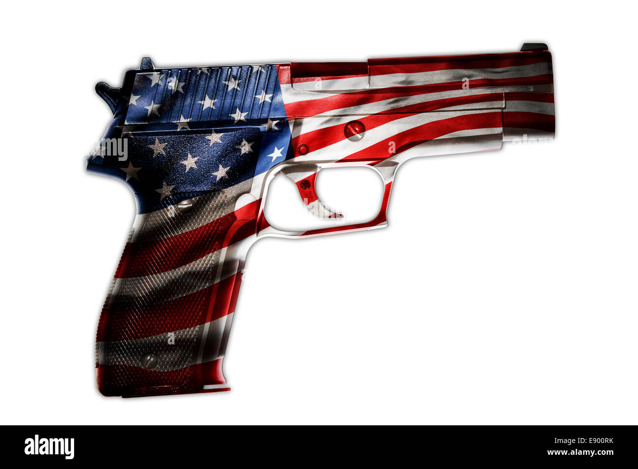 Handgun and American flag composite - Stock Image