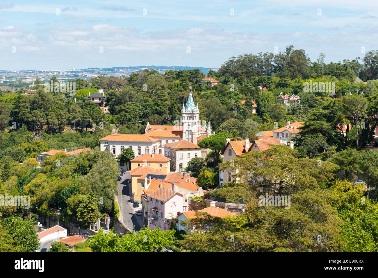 Portugal Sintra Panoramic view of town centre center Camara Municipal surrounding woods distant hills - Stock Image