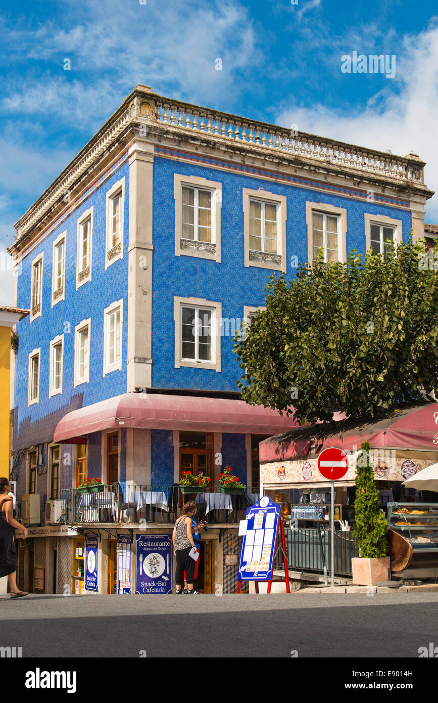 Portugal Sintra Praca da Republica patterned blue tiled building house centro city center centre Restaurante Adega Stock Photo