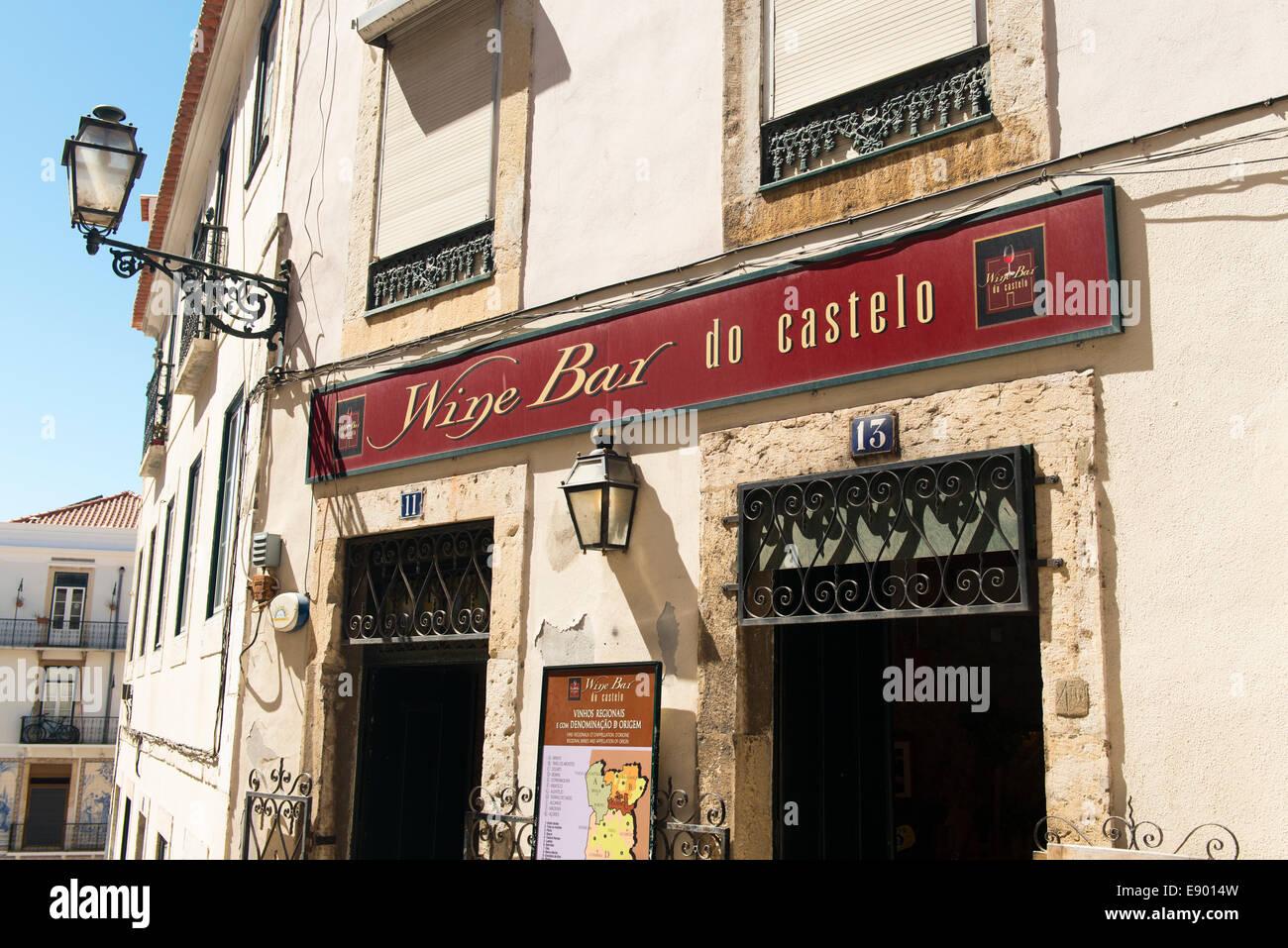 Portugal Lisbon Alfama Wine Bar do Castelo popular venue close to castle Sao Jorge - Stock Image