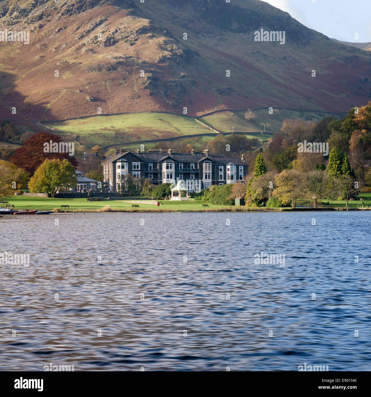 Inn on the Lake Hotel on the shores of Ullswater Lake in Glenridding, Lake District, Cumbria, England, UK Stock Photo