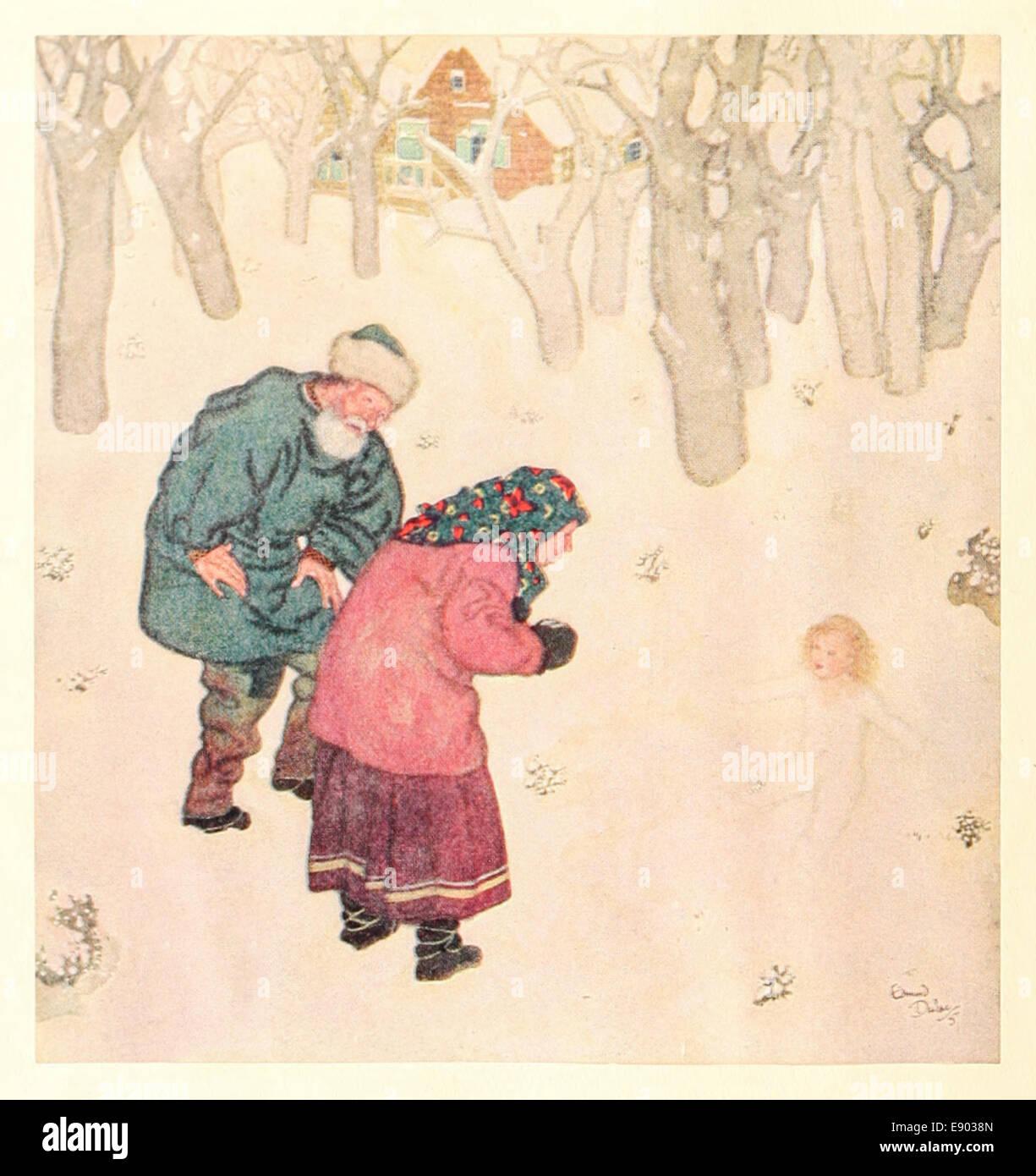 Snegurochka, the Snow Maiden, Russian fairy tale. Edmund Dulac (1882-1953) illustration. See description for more Stock Photo