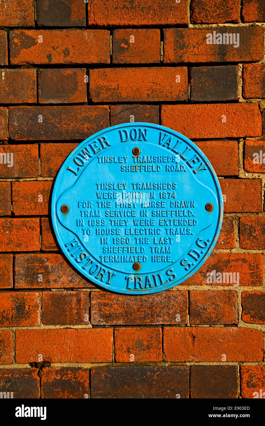 A blue plaque with information of the Lower Don Valley History Trail Sheffield South Yorkshire UK - Stock Image