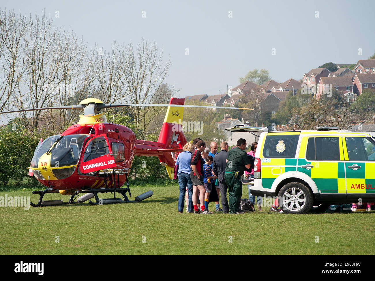 The Cornwall Air Ambulance attending an incident at a rugby match in Cornwall, UK - Stock Image