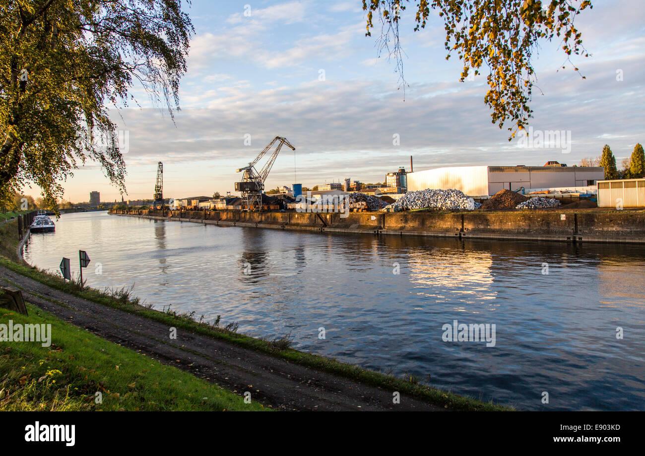 Europe's largest inland port, Duisburg Ruhrort, River Rhine, Stock Photo