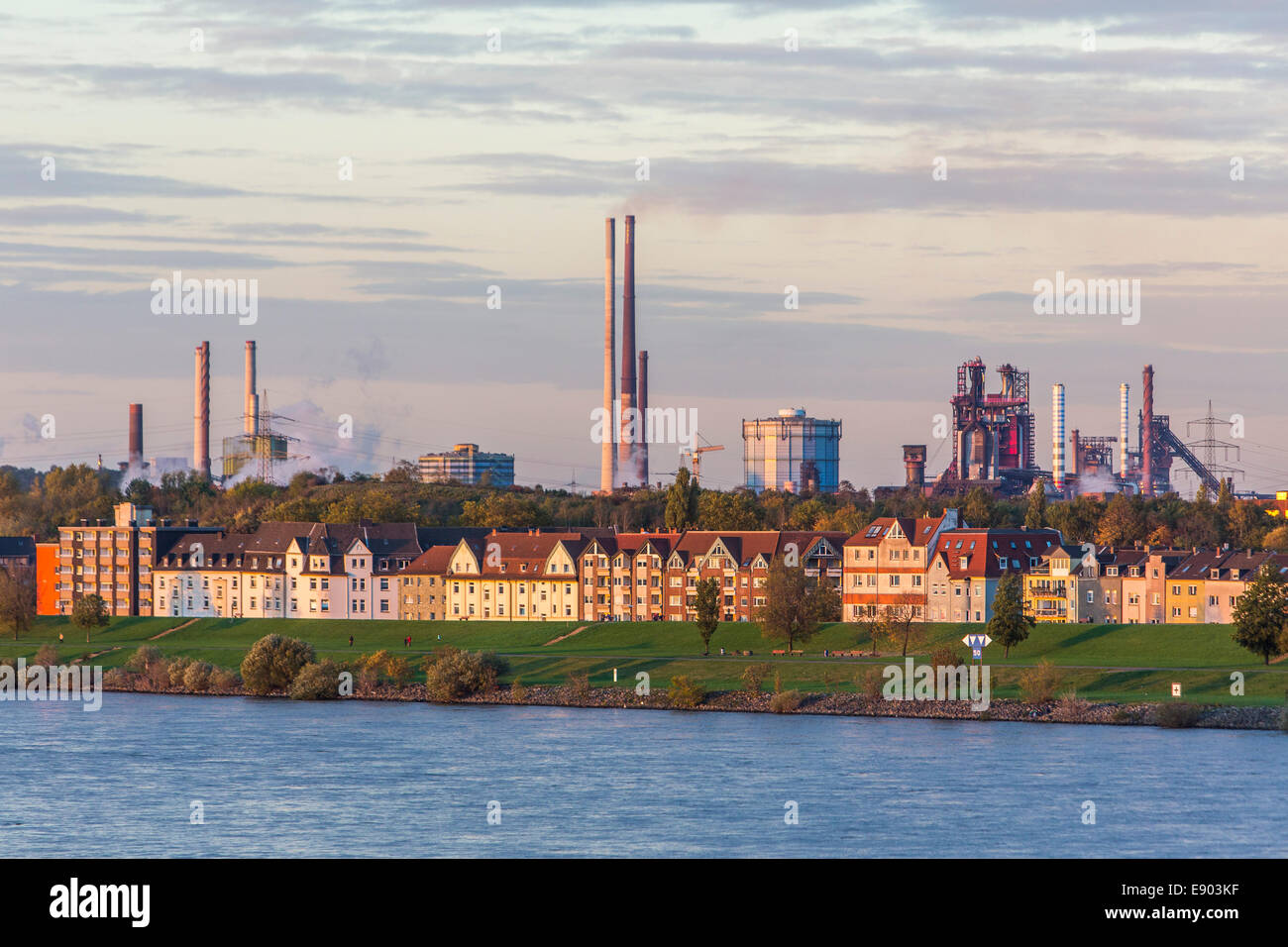 Europe's largest inland port, Duisburg Ruhrort, River Rhine, - Stock Image