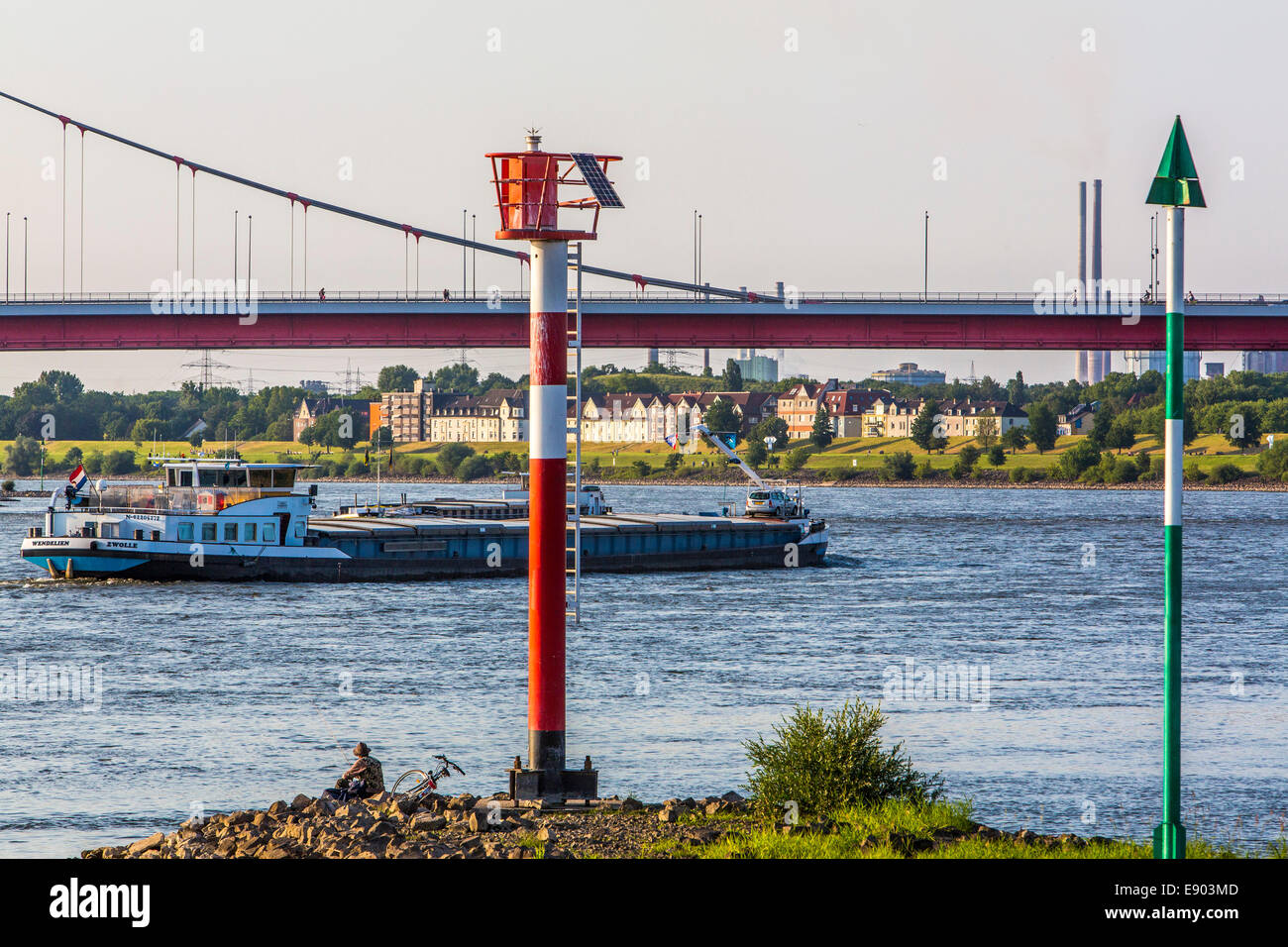 Europe's largest inland port, Duisburg Ruhrort, River Rhine, street bridge, - Stock Image