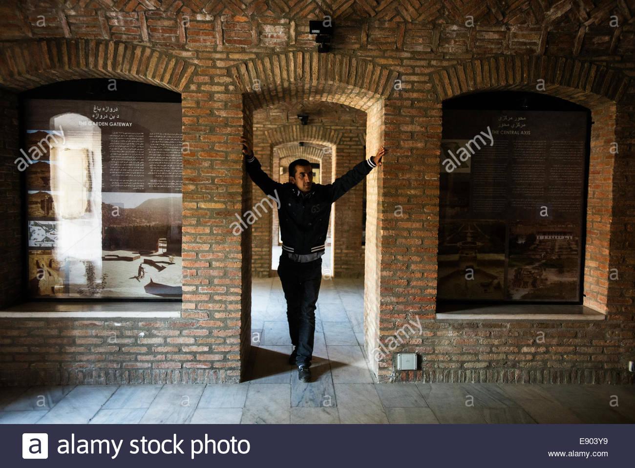 Afghan man posing in museum of Babur\'s garden, Kabul, Afghanistan ...