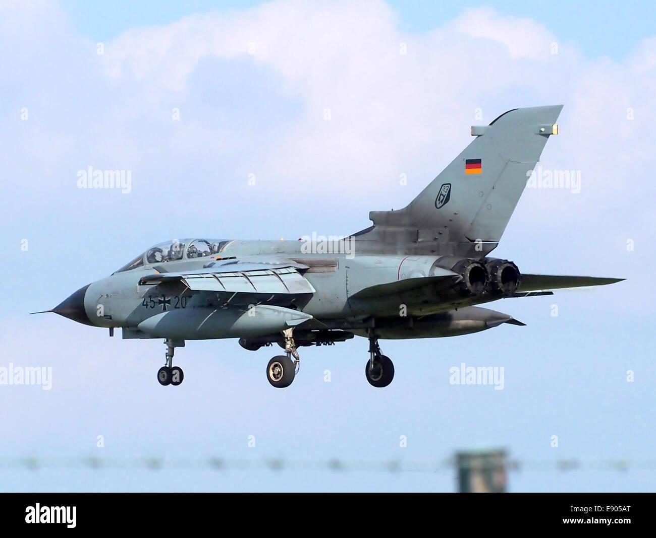 45 20 Panavia Tornado landing at Buchel Air Base, Germany, - Stock Image