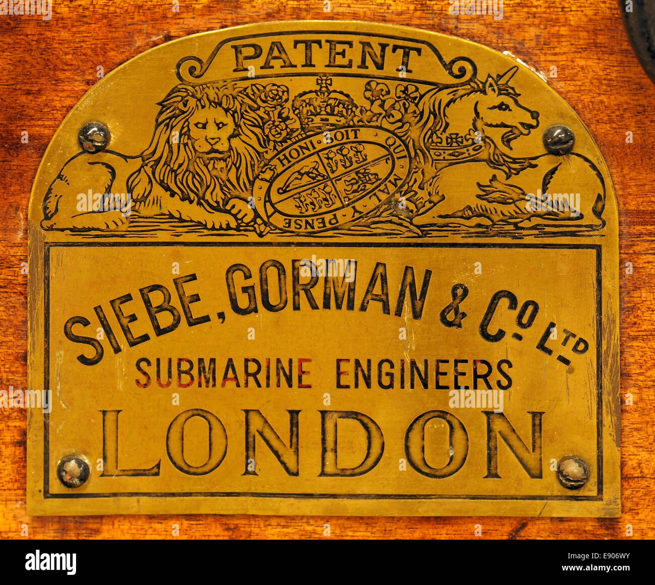 Siebe, Gorman & Co ltd, Submarine engineers, London, logo, Geniemuseum Vught - Stock Image