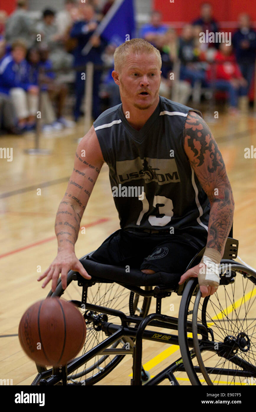 Retired U.S. Marine Corps Cpl. Justin Gaertner plays with the U.S. Special Operations Command wheelchair basketball Stock Photo