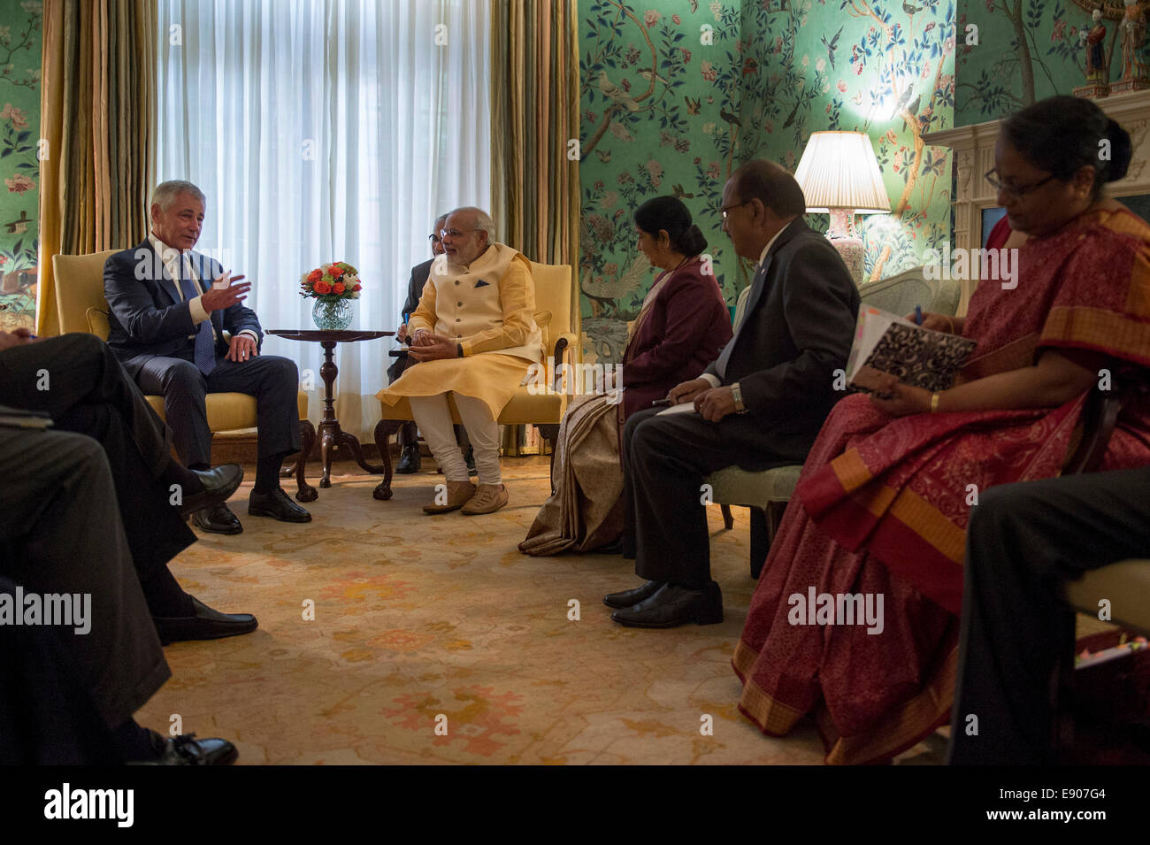Secretary of Defense Chuck Hagel, left, meets with Narendra Modi, center left, the prime minister of India, at the Stock Photo