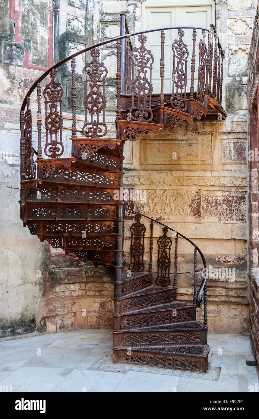 Old Wrought Iron Spiral Staircase Of Mehrangarh Fort