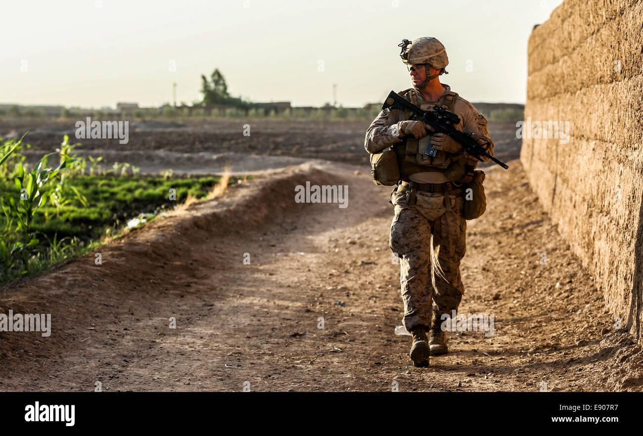 U.S. Marine Corps Lt. Col. Bradley Weston, a battalion commander with the 1st Battalion, 2nd Marine Regiment, observes - Stock Image