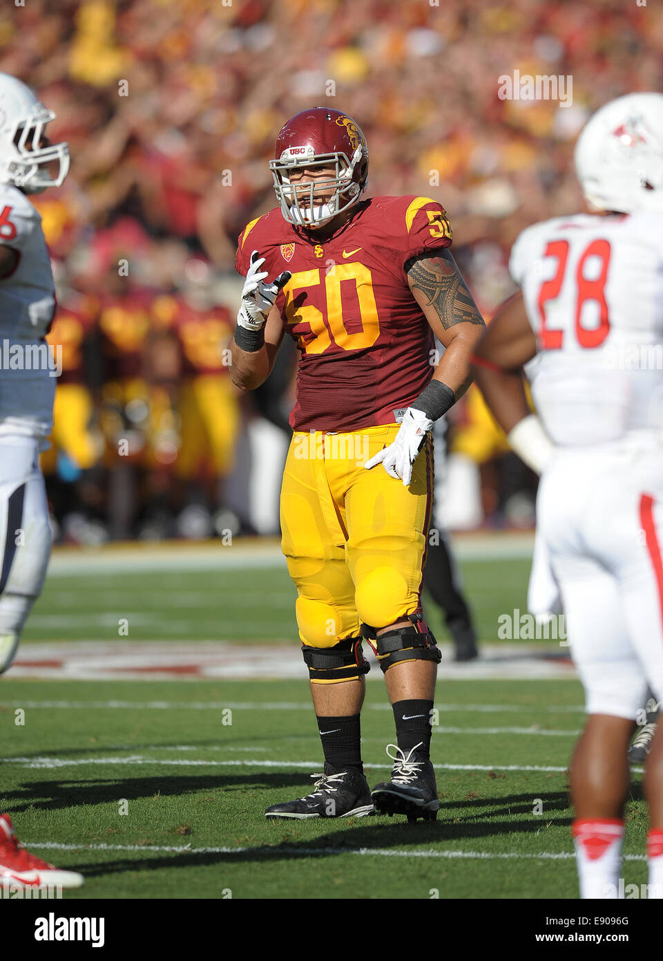 August 30, 2014, Los Angeles, CA...USC Trojans offensive guard (50) Toa Lobendahn in action beating the Fresno State - Stock Image