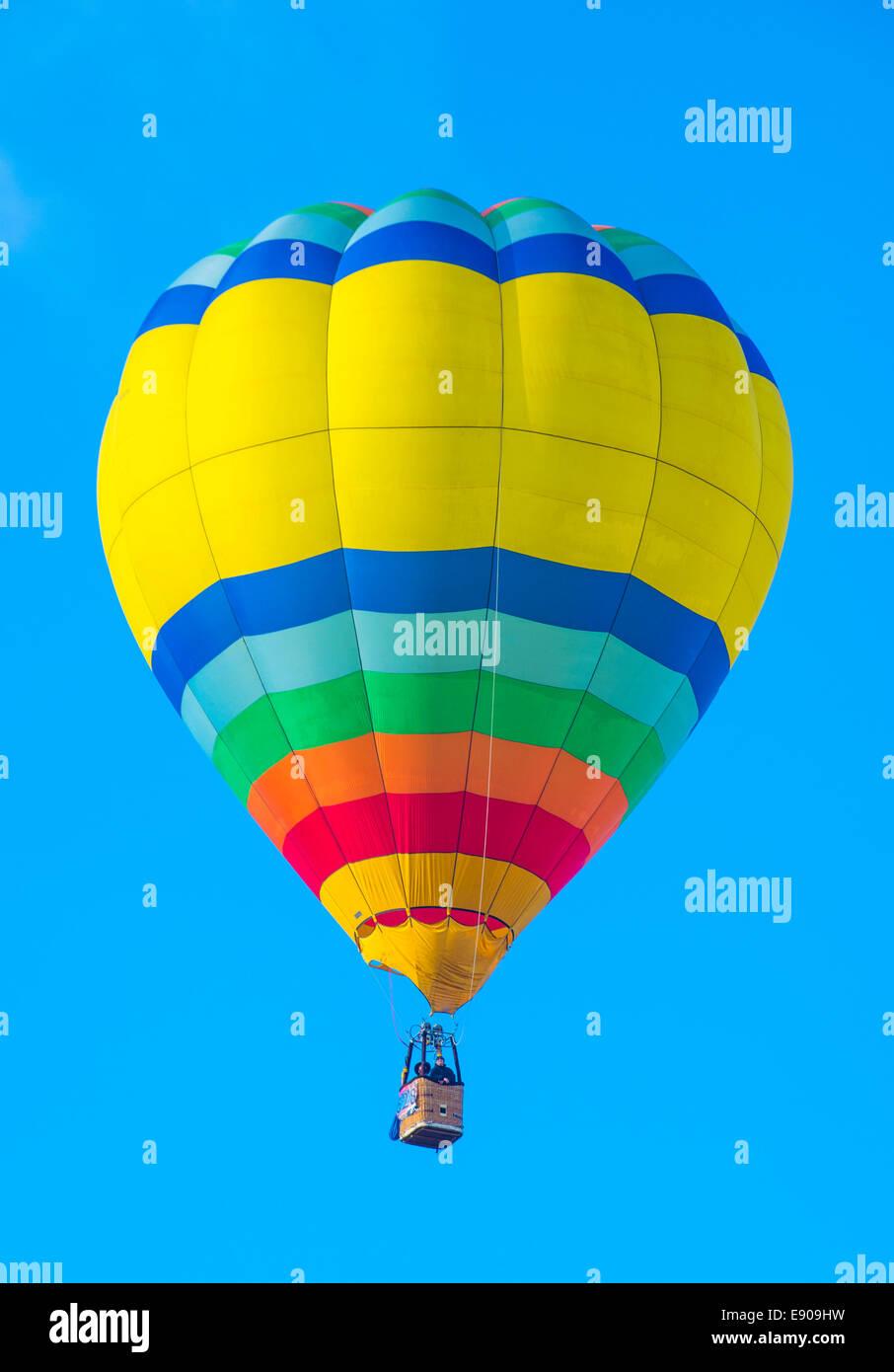 Balloon fly over Albuquerque New Mexico during the Albuquerque balloon fiesta - Stock Image