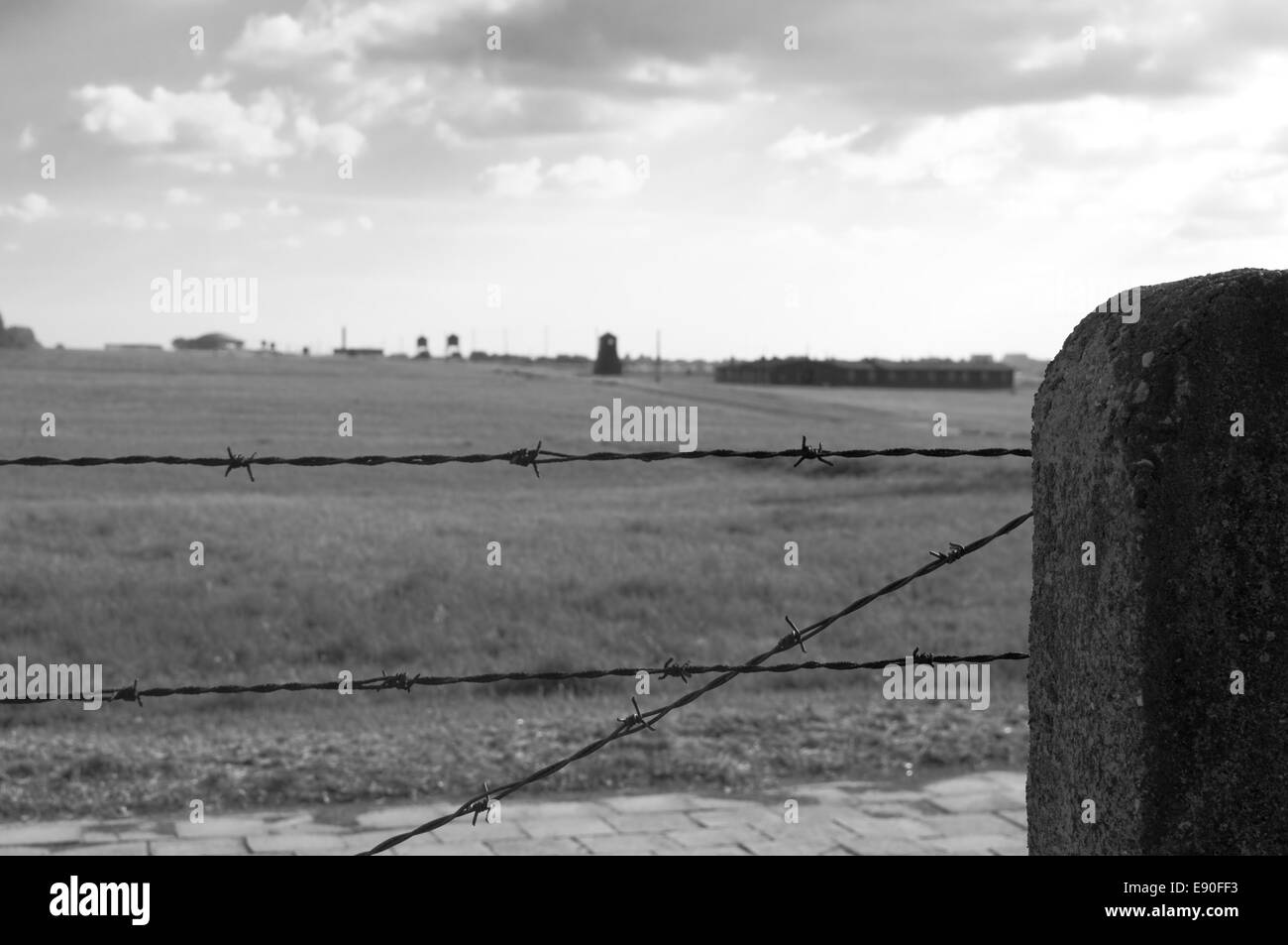 barbed wire fence in concentration camp - Stock Image