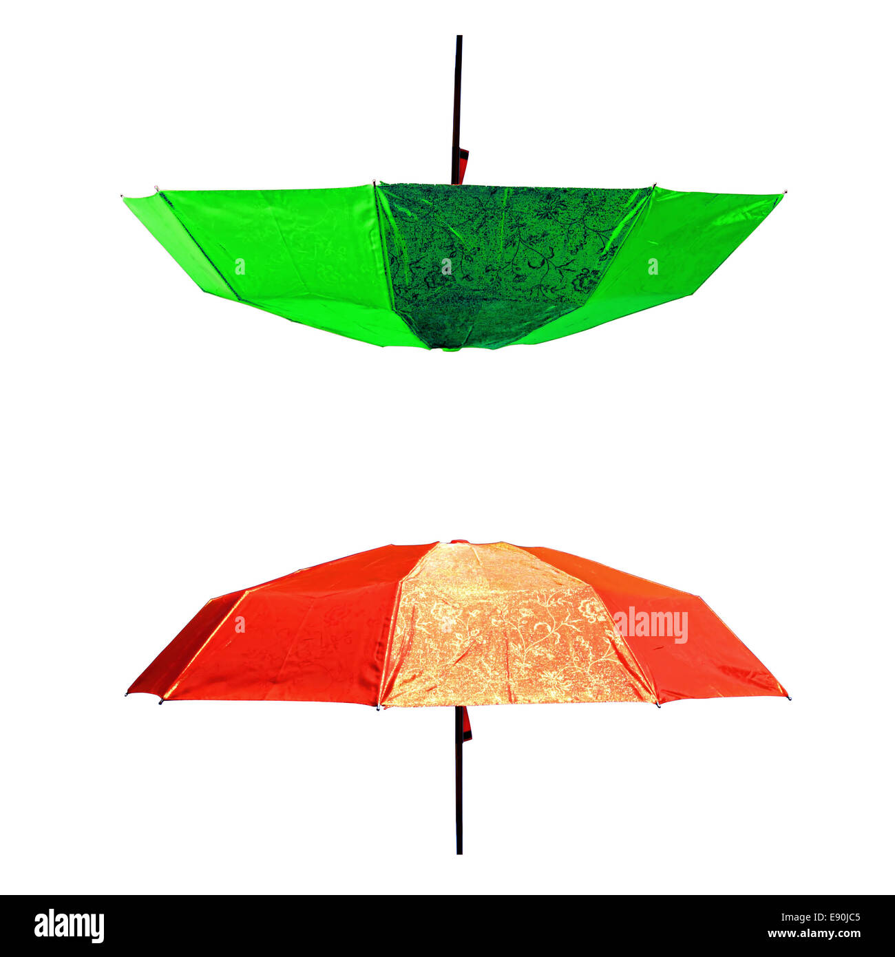 umbrellas on white background - Stock Image