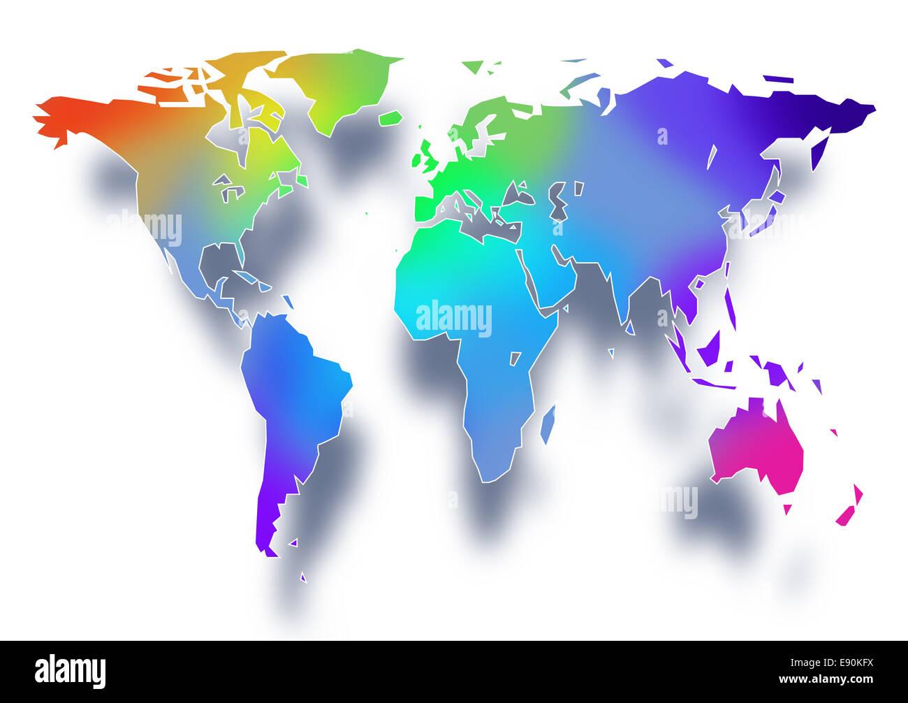world map illustration - Stock Image