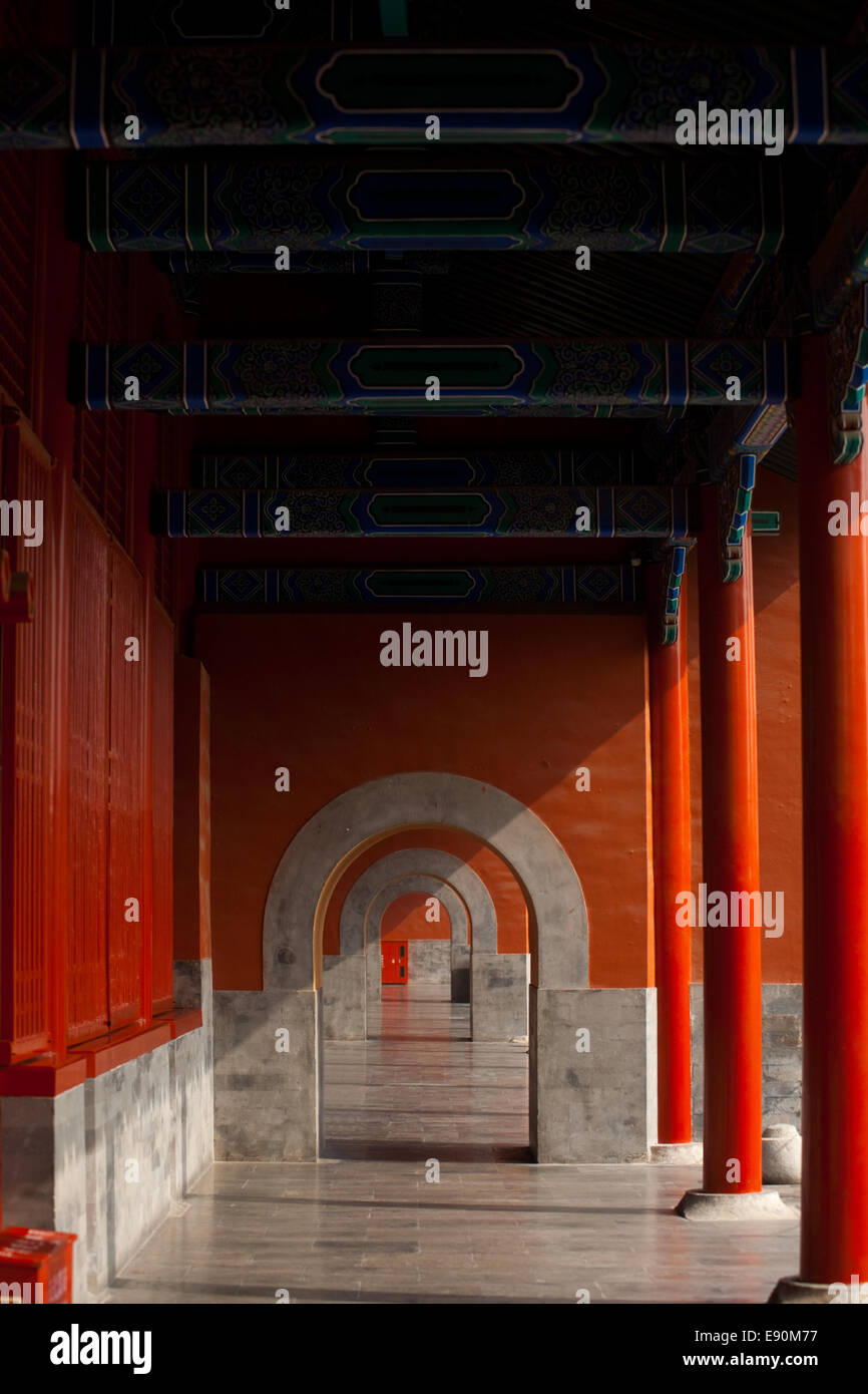 Forbidden City Hallway Beautiful Repetition - Stock Image