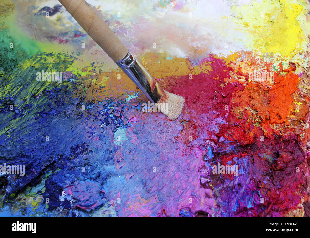 paints and art brush - Stock Image