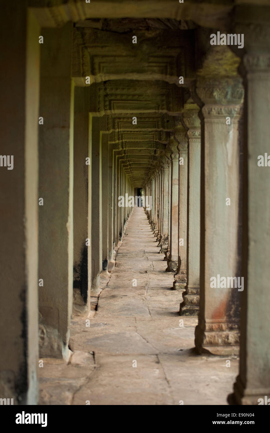 Repetition Stone Pillar Hallway Angkor Temple - Stock Image