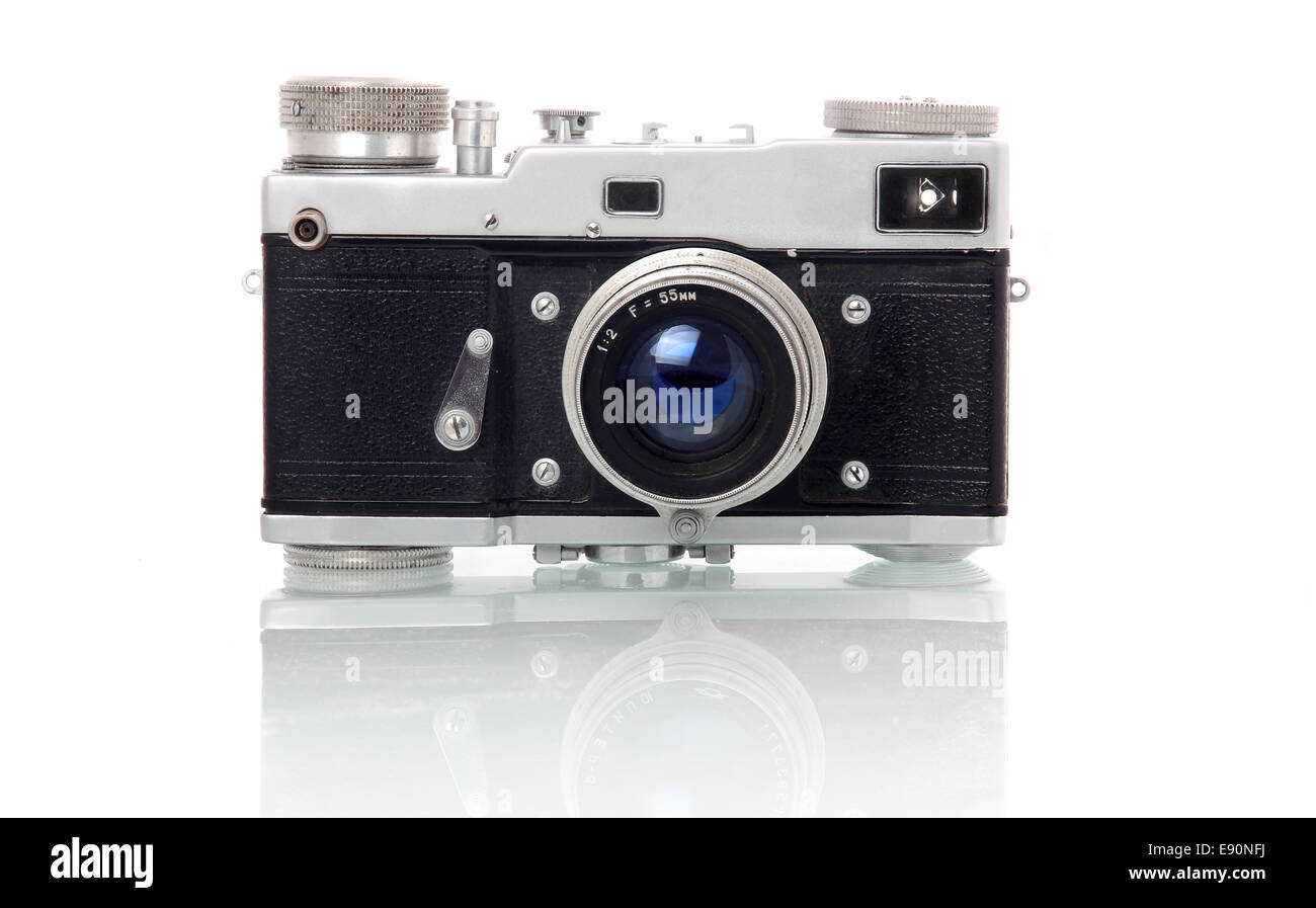 Retro-styled photo camera isolated on white - Stock Image