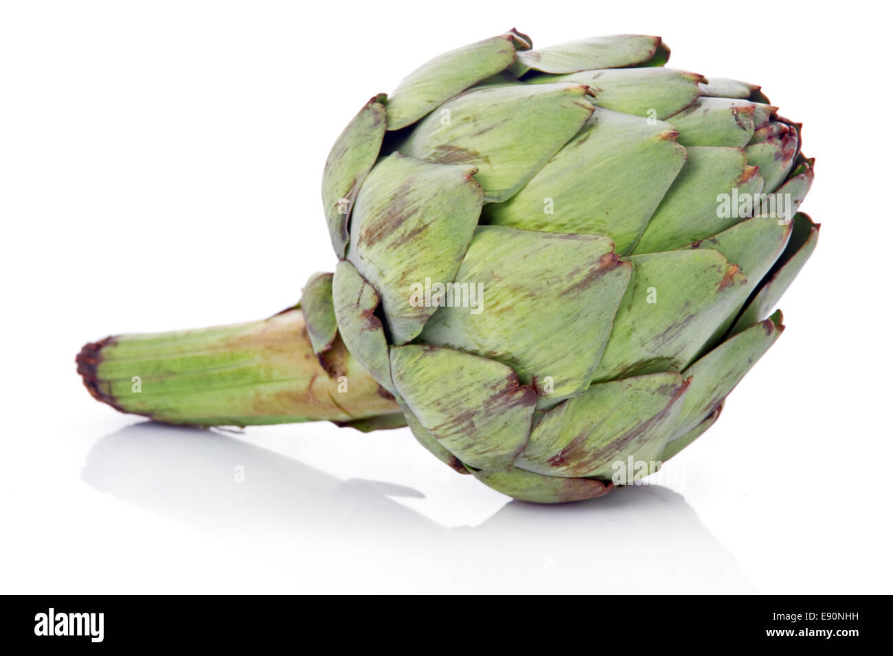 Ripe green artichoke vegetable isolated - Stock Image