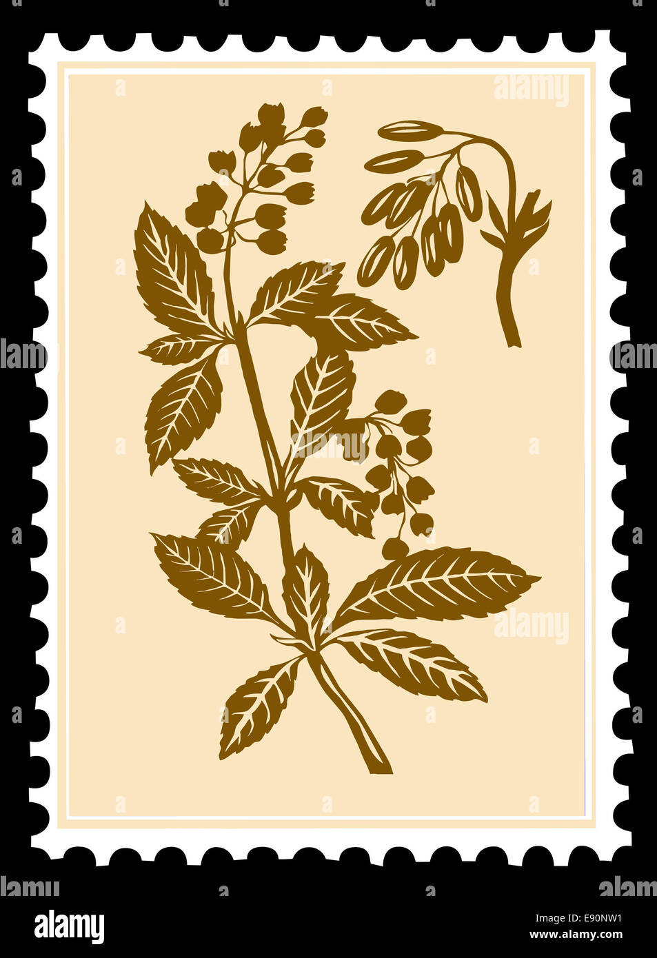 postage stamps on black background Stock Photo