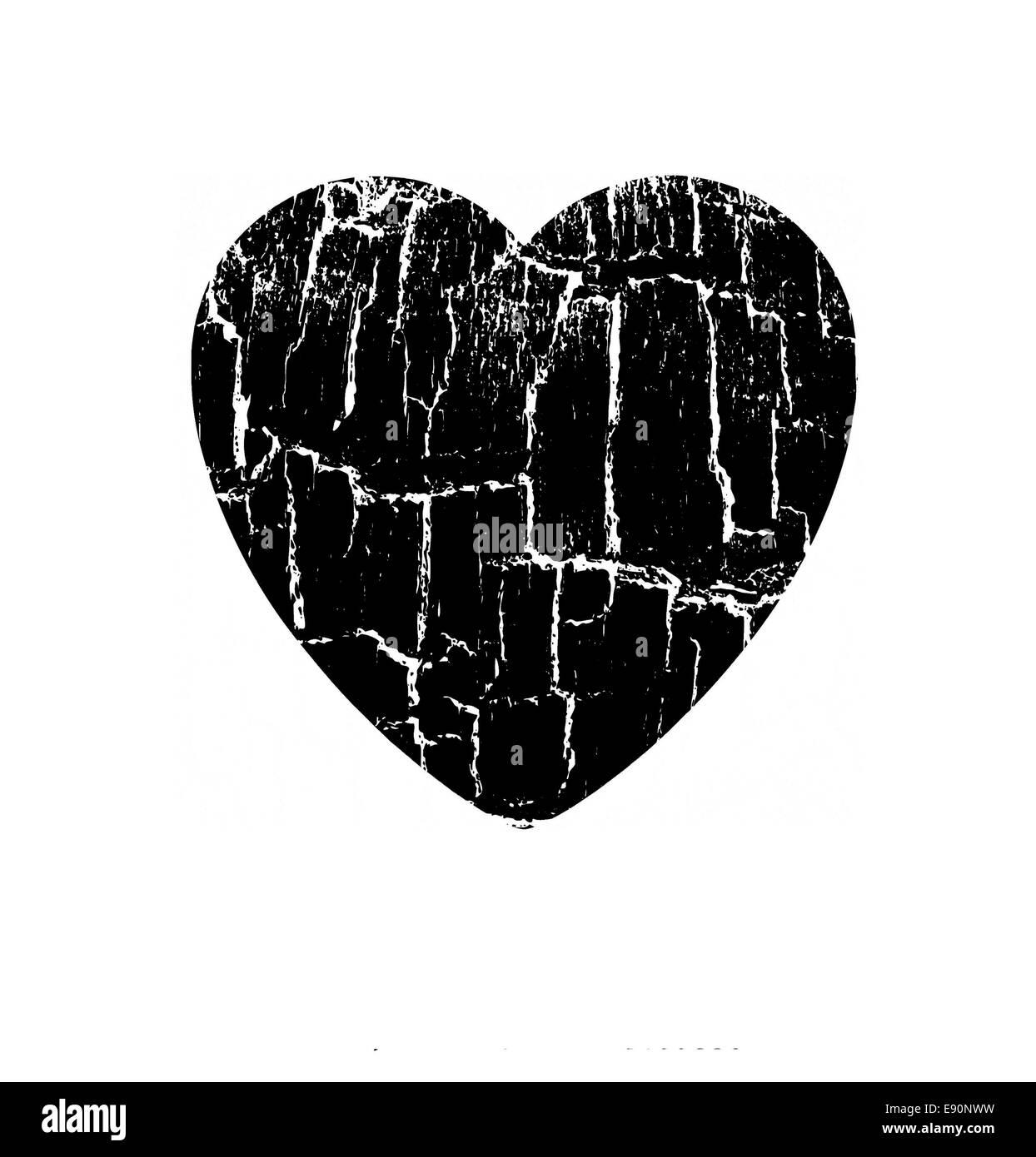illustration heart in rift - Stock Image