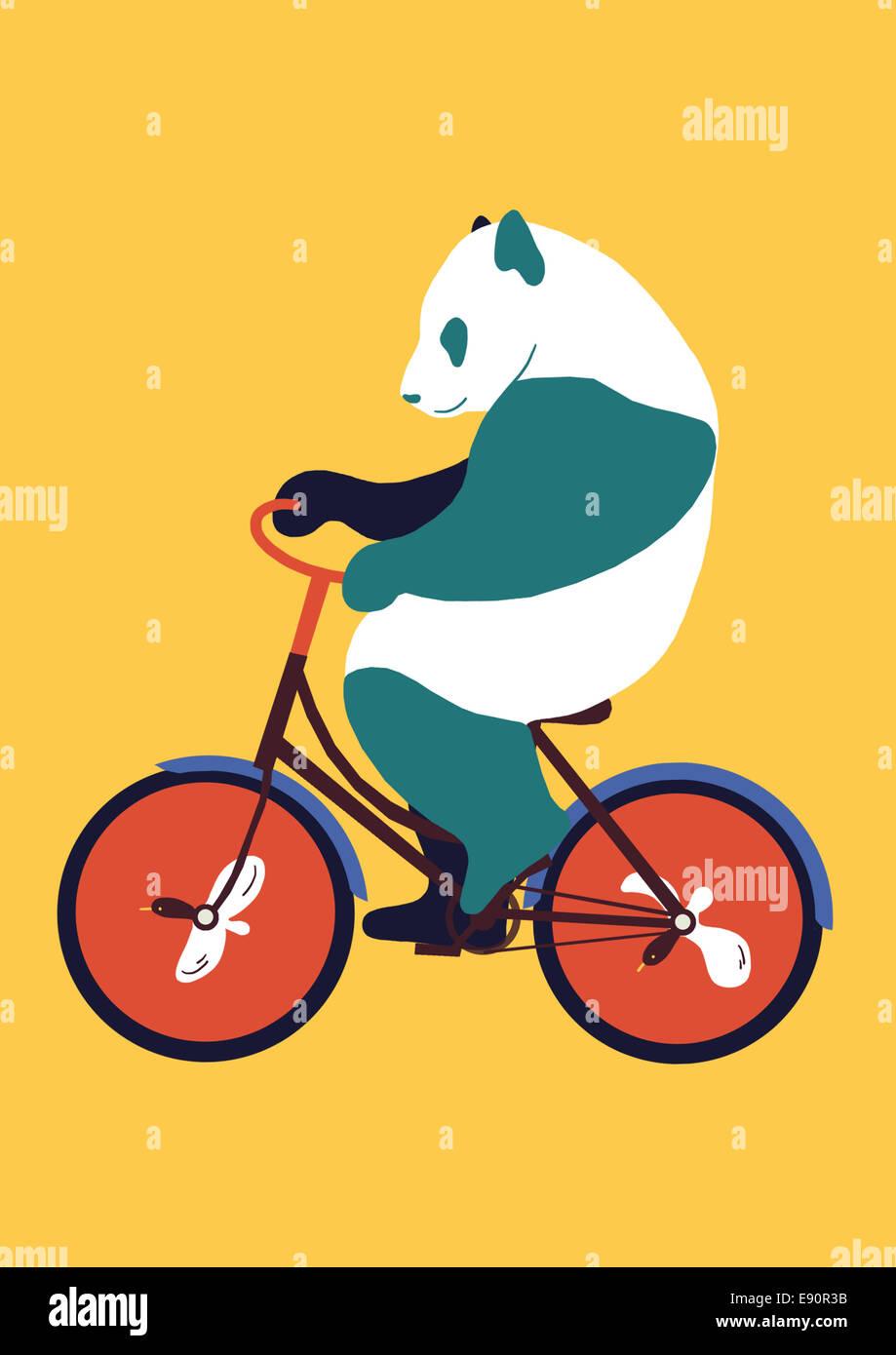 Illustration of a riding panda - Stock Image