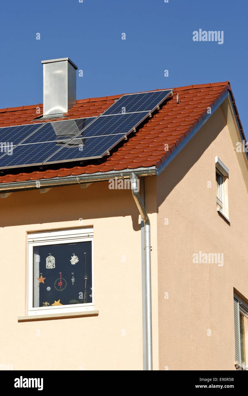 New construction with solar energy Stock Photo