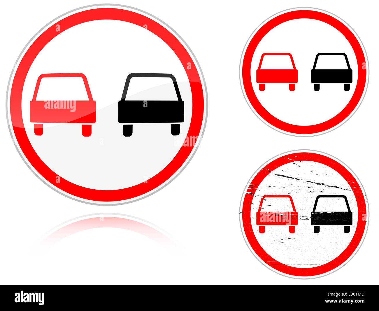 Set of variants a No passing - road sign - Stock Image