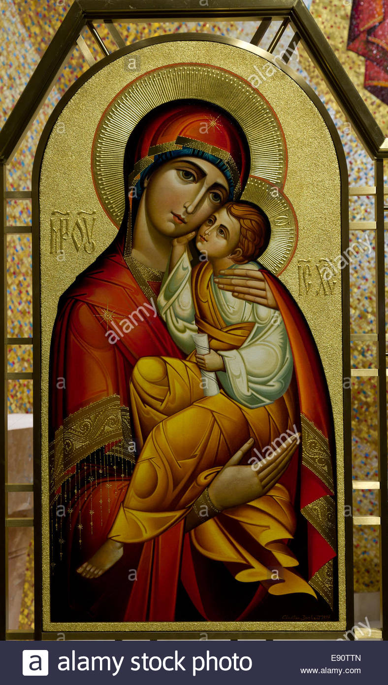 Russian Icon of Mary and Jesus Stock Photo