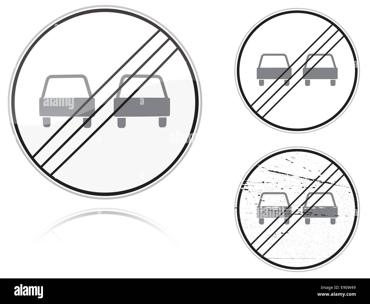 Variants a End of no passing - road sign - Stock Image