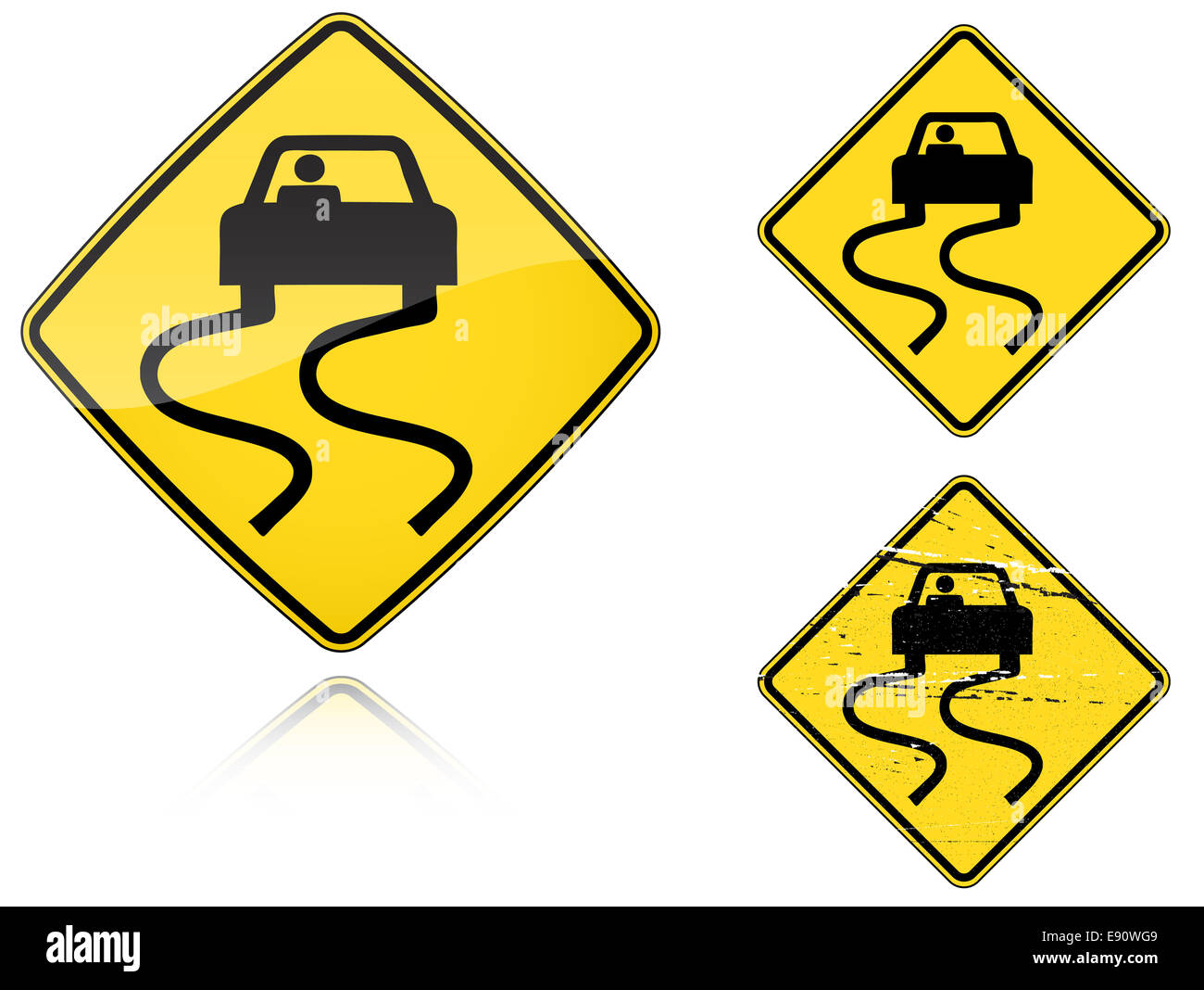 Variants a Slippery when wet - road sign Stock Photo