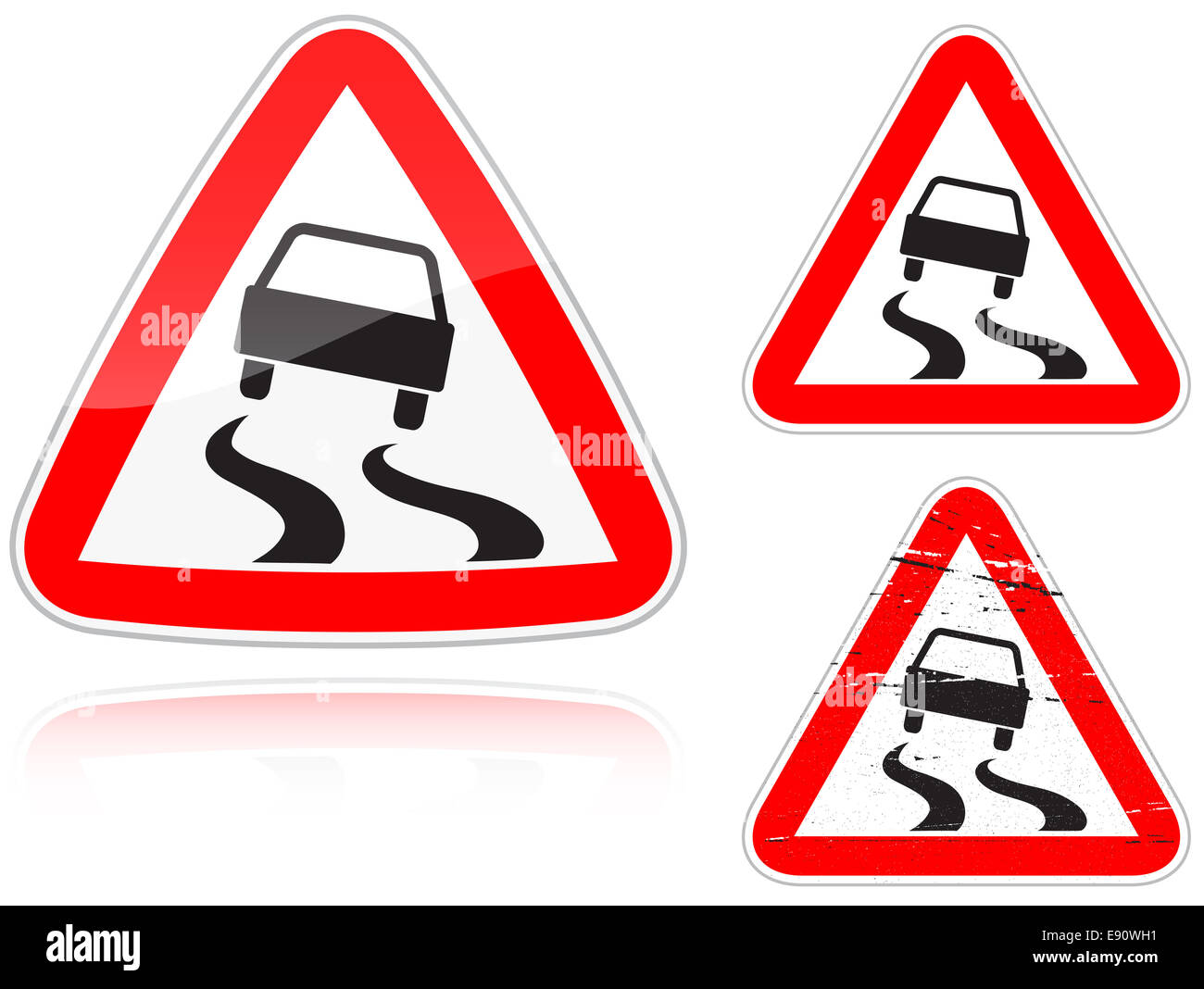 Variants a Slippery road - road sign - Stock Image