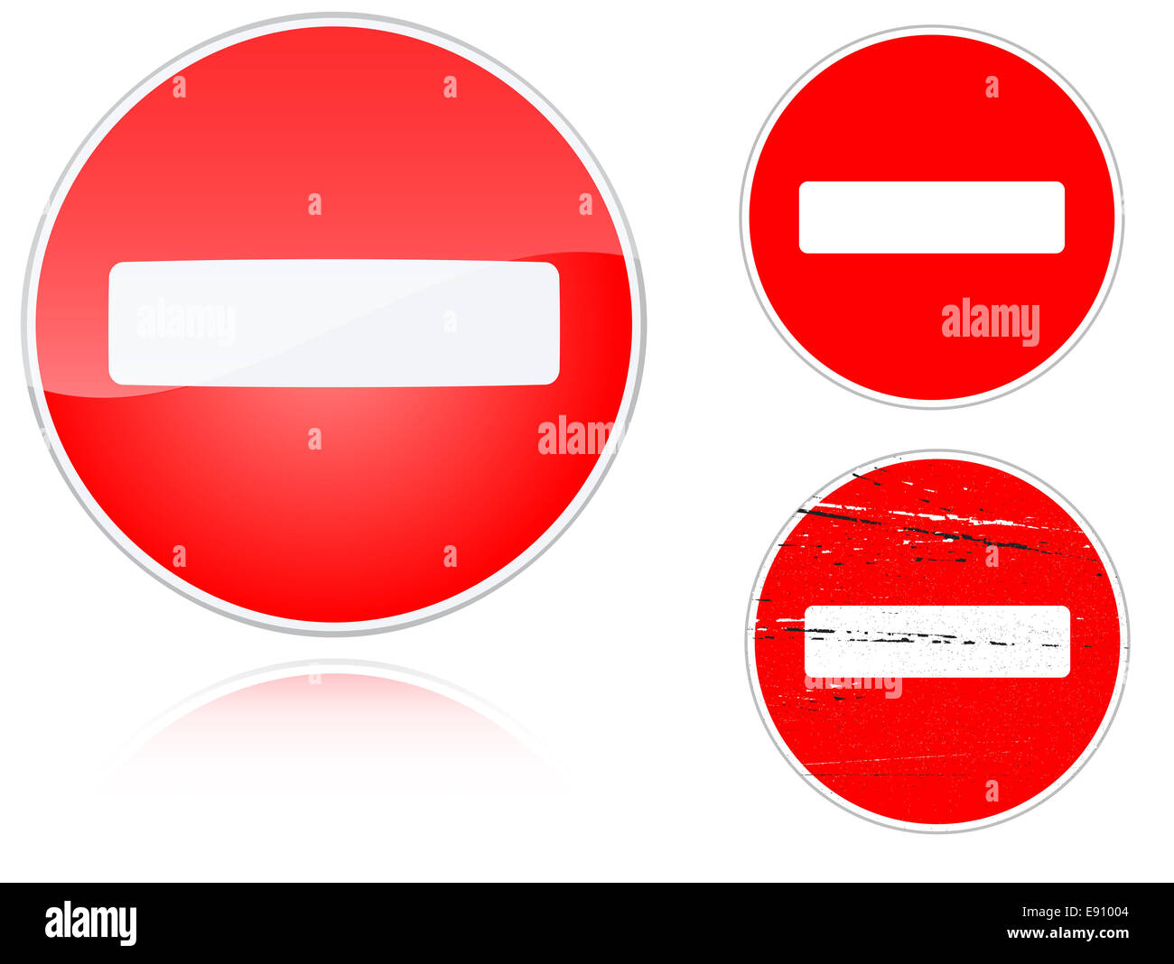 Set of variants no entry road sign - Stock Image