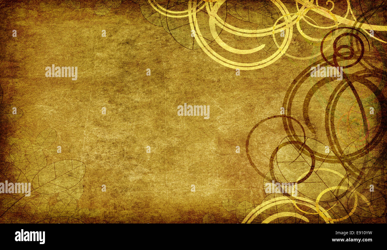 swirls on old paper background - Stock Image