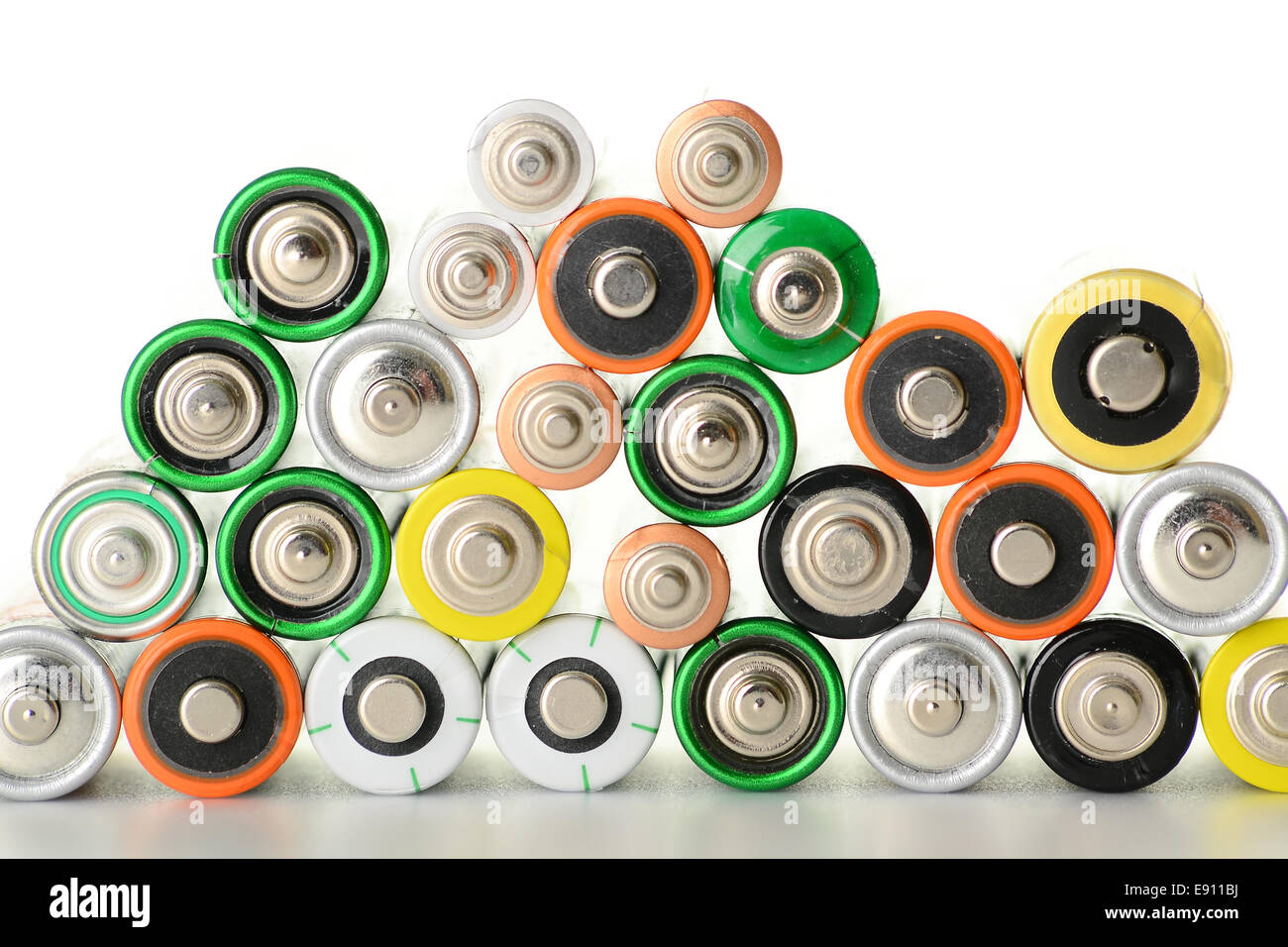 Composition with alkaline batteries - Stock Image
