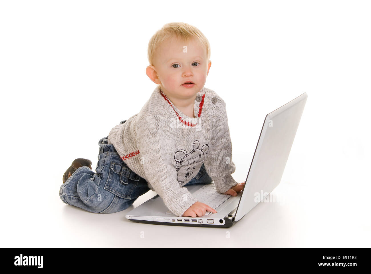 Young boy wih laptop Stock Photo
