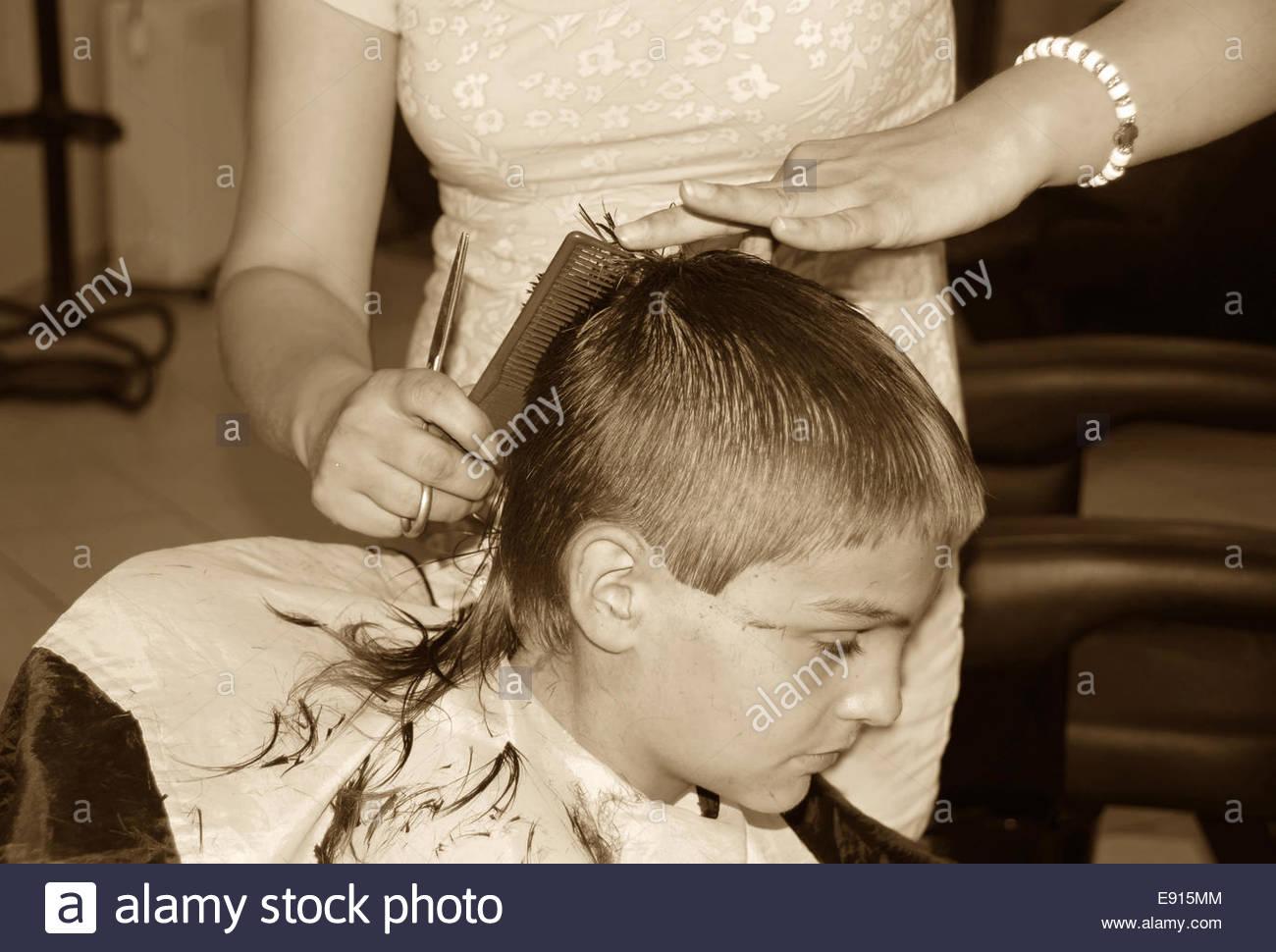 Boy  haircut - Stock Image