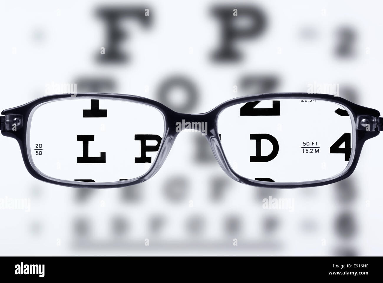 Eyeglasses and eye chart - Stock Image